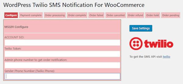 Woocommerce Twilio SMS notifications 02