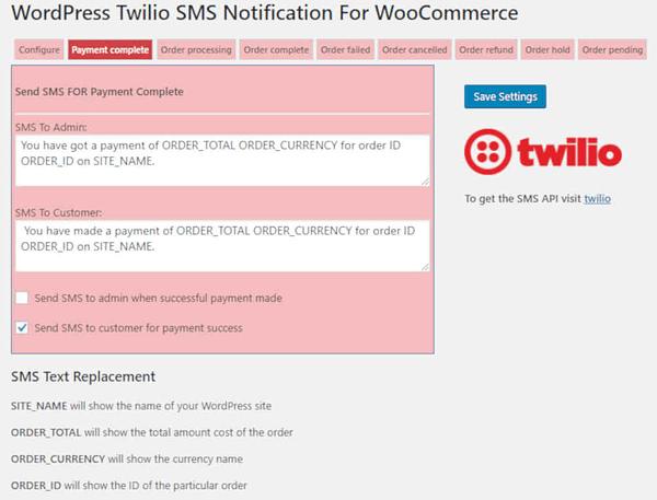 Woocommerce Twilio SMS notifications 05