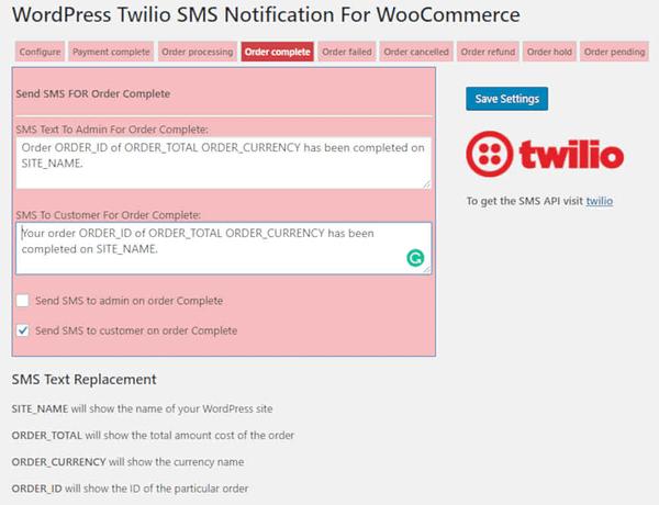 Woocommerce Twilio SMS notifications 03